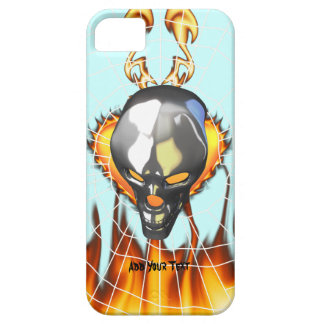 Chrome human skull design 2 with fire and web iPhone SE/5/5s case