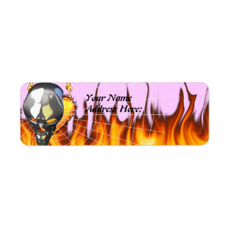 Chrome human skull design 2 with fire and web label