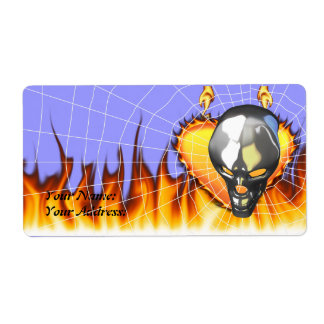 Chrome human skull design 2 with fire and web personalized shipping label