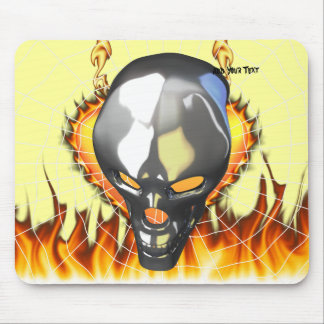 Chrome human skull design 2 with fire and web mouse pad