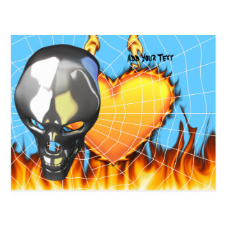 Chrome human skull design 2 with fire and web postcard