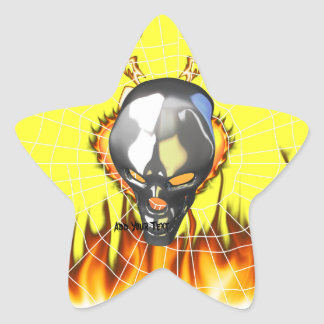 Chrome human skull design 2 with fire and web star sticker