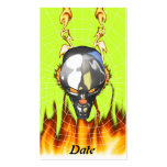 Chrome human skull design 3 with fire and web Double-Sided standard business cards (Pack of 100)