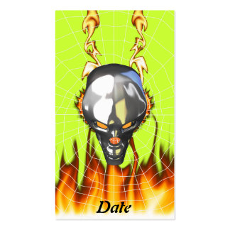 Chrome human skull design 3 with fire and web business card