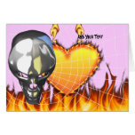 Chrome human skull design 3 with fire and web greeting card