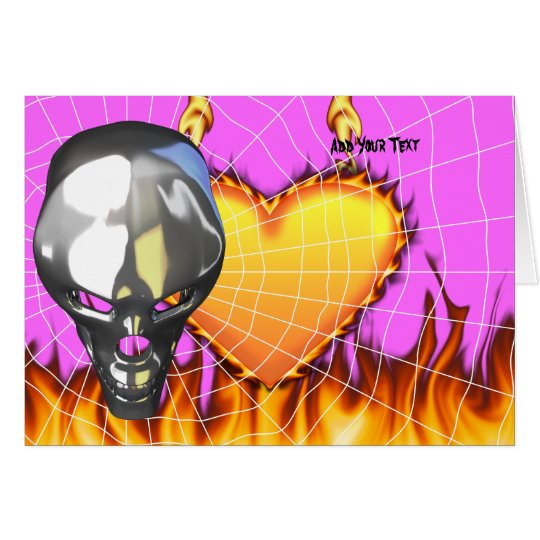 Chrome human skull design 3 with fire and web card