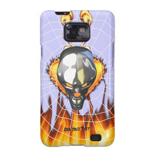 Chrome human skull design 3 with fire and web samsung galaxy s2 cover