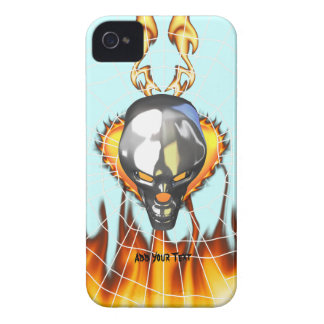 Chrome human skull design 3 with fire and web iPhone 4 cover