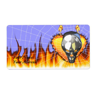 Chrome human skull design 3 with fire and web personalized shipping label