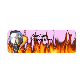 Chrome human skull design 3 with fire and web custom return address label