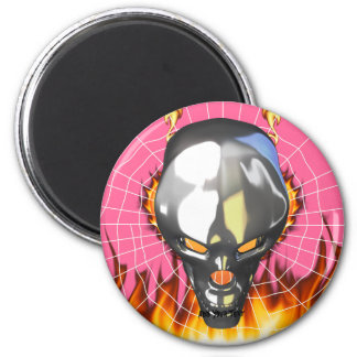 Chrome human skull design 3 with fire and web magnet