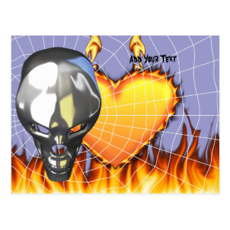 Chrome human skull design 3 with fire and web postcard