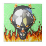 Chrome human skull design 3 with fire and web tile