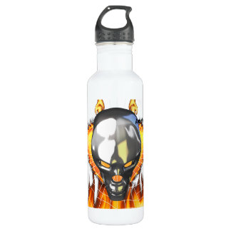 Chrome human skull design 3 with fire and web water bottle