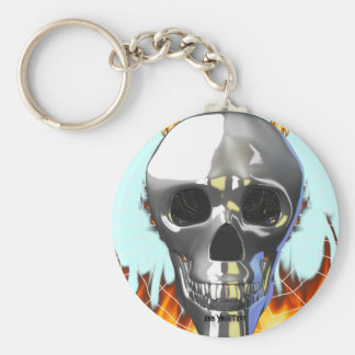 Chrome human skull design 4 with fire and web. basic round button keychain