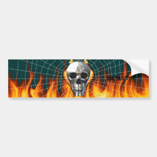 Chrome human skull design 4 with fire and web. bumper sticker