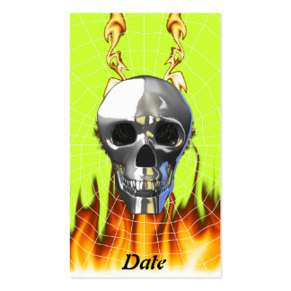 Chrome human skull design 4 with fire and web. business cards