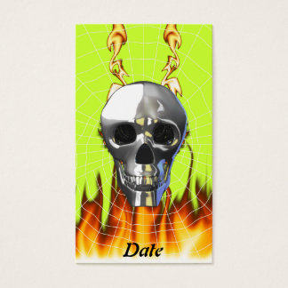 Chrome human skull design 4 with fire and web. business card