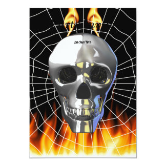 Chrome human skull design 4 with fire and web. card