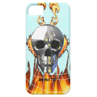 Chrome human skull design 4 with fire and web. iPhone SE/5/5s case