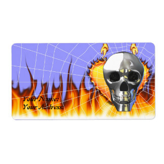 Chrome human skull design 4 with fire and web. label
