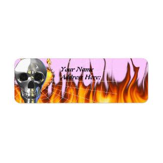 Chrome human skull design 4 with fire and web. custom return address label