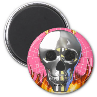 Chrome human skull design 4 with fire and web. magnet