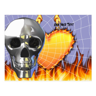 Chrome human skull design 4 with fire and web. postcard
