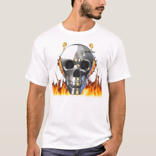 Chrome human skull design 4 with fire and web. T-Shirt