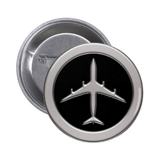 Chrome Jet Airplane Pinback Buttons