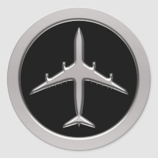 Chrome Jet Airplane Classic Round Sticker