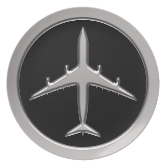 Chrome Jet Airplane Melamine Plate
