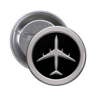 Chrome Jet Airplane Pinback Button
