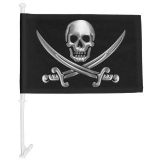 Chrome Jolly Roger Car Flag