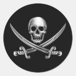 Chrome Jolly Roger Classic Round Sticker
