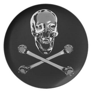 Chrome Jolly Roger Dinner Plate
