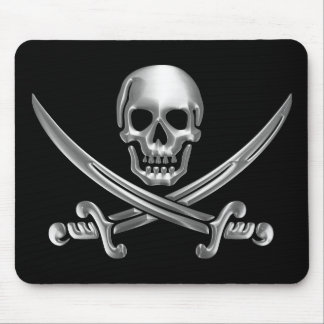 Chrome Jolly Roger Mouse Pads