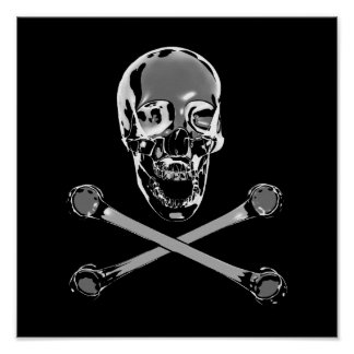 Chrome Jolly Roger Poster