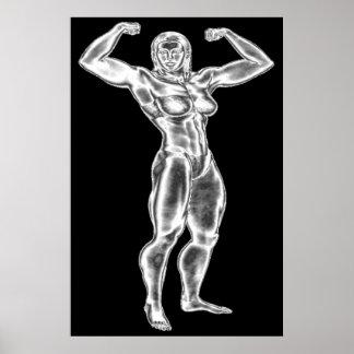 Chrome Lady Bodybuilder Poster