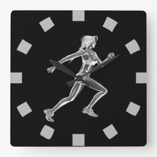 Chrome Lady Runner Wall Clock