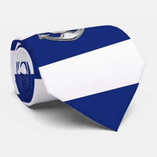 Chrome Lifesaver on Nautical Navy Blue Stripes Neck Tie
