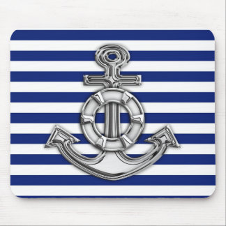 Chrome Lifesaver on Nautical Stripes Mousepad