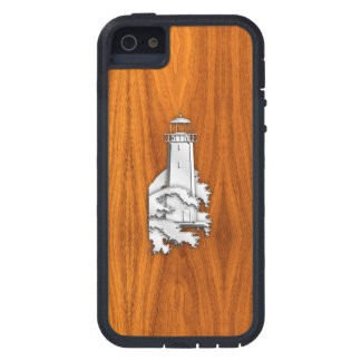 Chrome Lighthouse on Teak Wood Cover For iPhone 5
