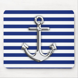 Chrome Like Anchor Design on Navy Stripes Mouse Pad
