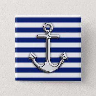 Chrome Like Anchor Design on Navy Stripes Pinback Button