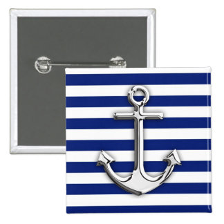 Chrome Like Anchor Design on Navy Stripes Pinback Button