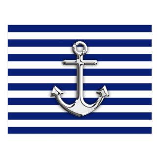 Chrome Like Anchor Design on Navy Stripes Postcard