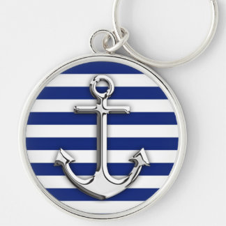 Chrome Like Anchor Design on Navy Stripes Silver-Colored Round Keychain