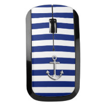Chrome like Anchor Nautical Navy Blue Stripe style Wireless Mouse