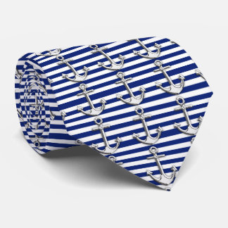 Chrome Like Anchor Nautical Navy Blue Stripes Neck Tie